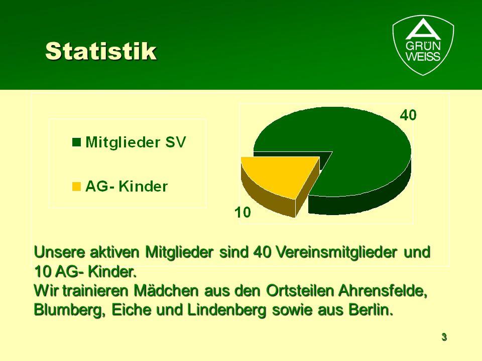 Statistik Unsere aktiven Mitglieder sind 40 Vereinsmitglieder und 10 AG- Kinder.