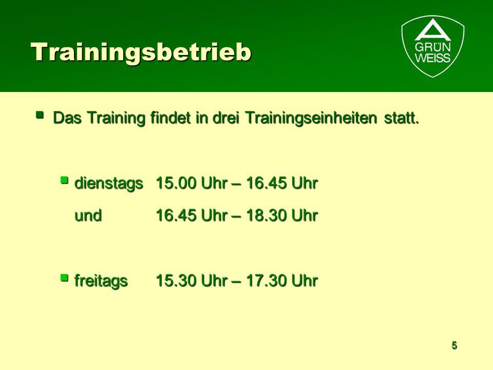 Trainingsbetrieb Das Training findet in drei Trainingseinheiten statt.