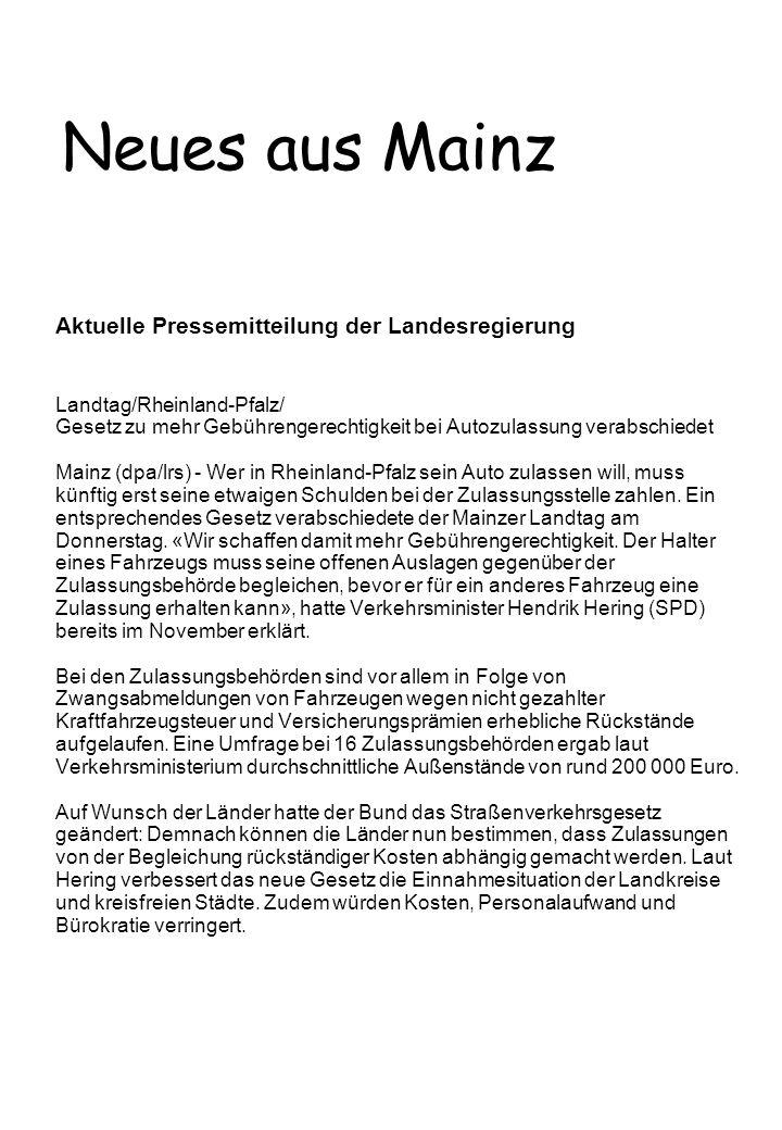 Neues aus Mainz Aktuelle Pressemitteilung der Landesregierung