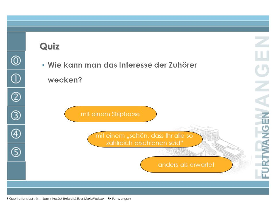 Quiz Wie kann man das Interesse der Zuhörer wecken