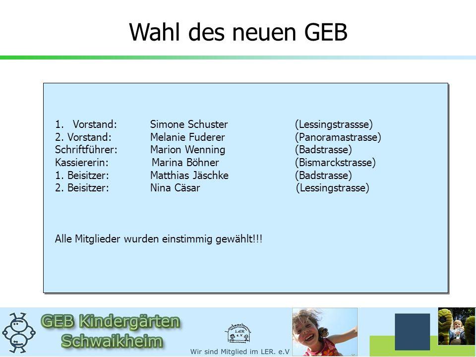 Wahl des neuen GEB Vorstand: Simone Schuster (Lessingstrassse)