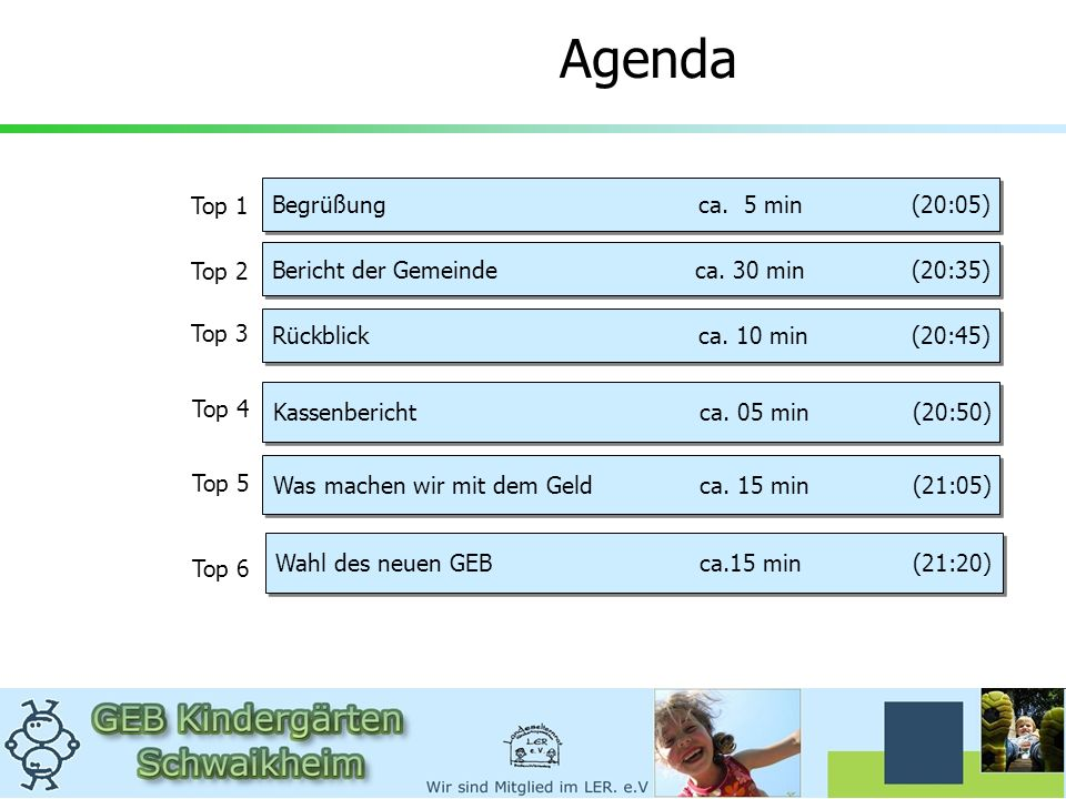 Agenda Begrüßung ca. 5 min (20:05) Top 1