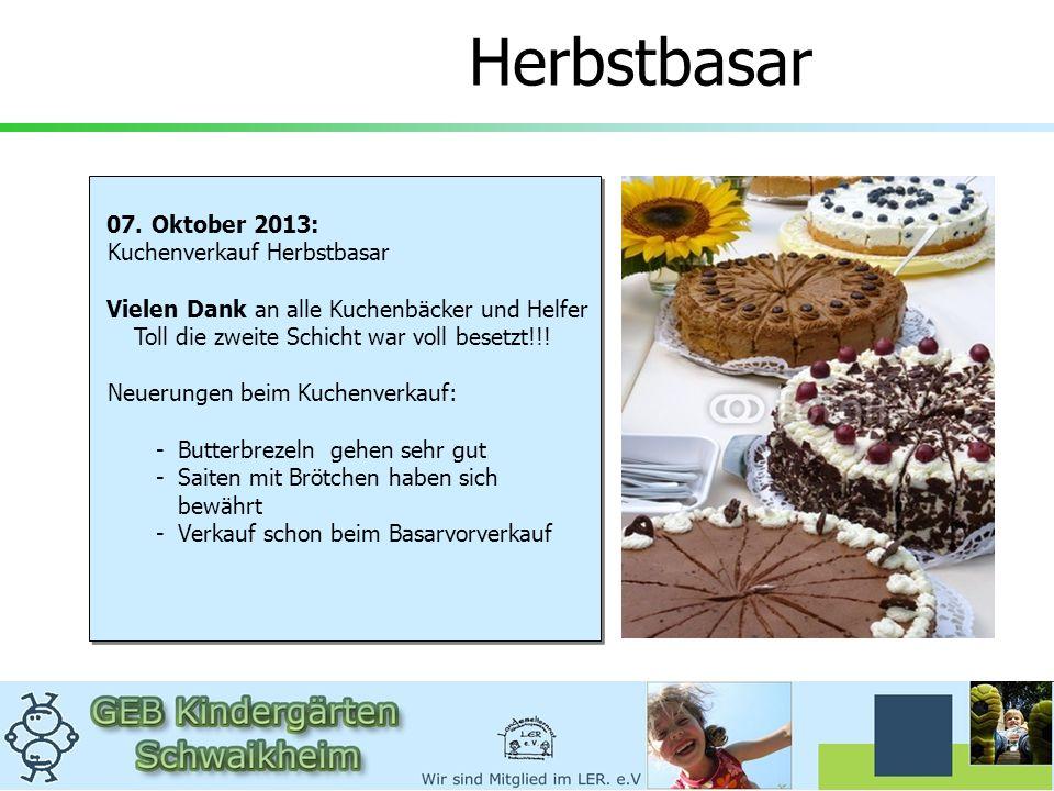 Herbstbasar 07. Oktober 2013: Kuchenverkauf Herbstbasar