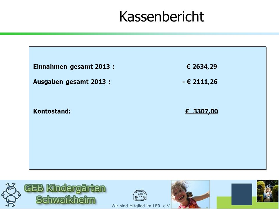 Kassenbericht Einnahmen gesamt 2013 : € 2634,29