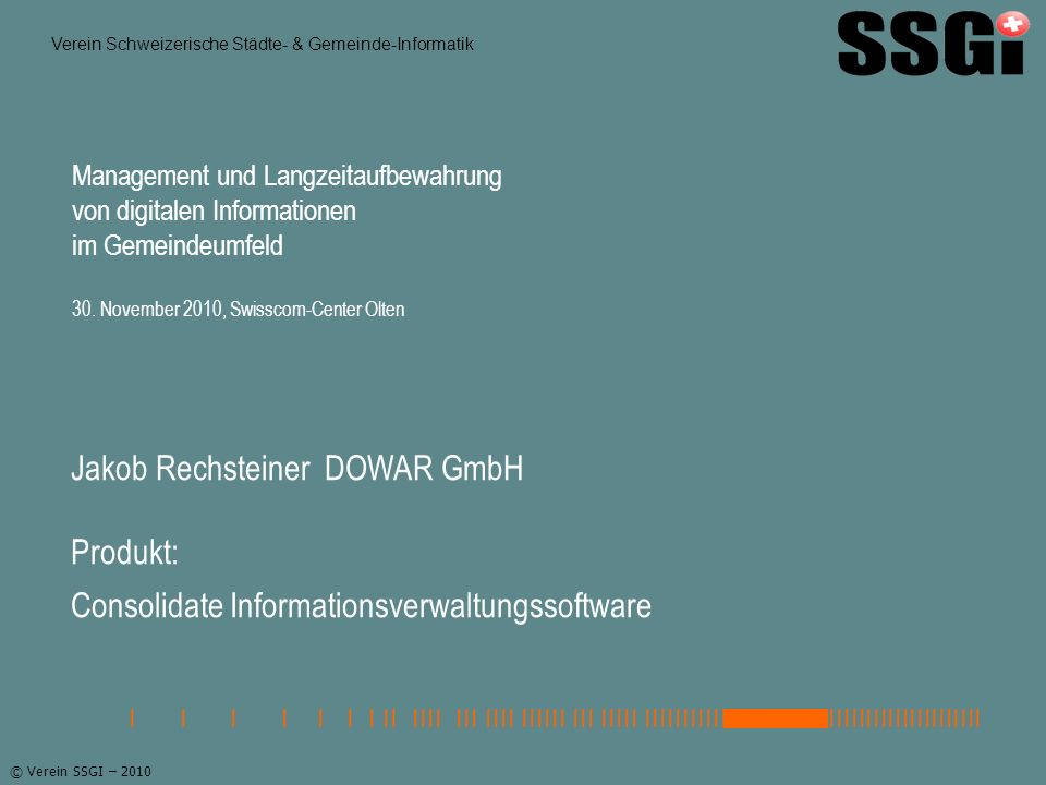 Jakob Rechsteiner DOWAR GmbH Produkt: