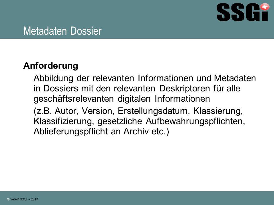 Metadaten Dossier Anforderung