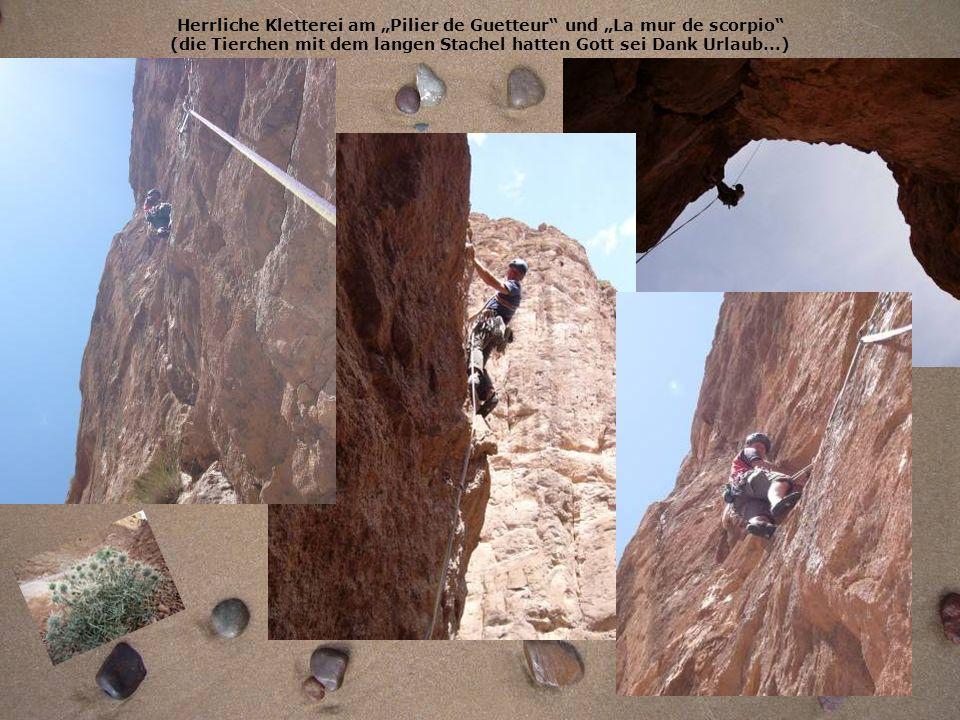 """Herrliche Kletterei am """"Pilier de Guetteur und """"La mur de scorpio (die Tierchen mit dem langen Stachel hatten Gott sei Dank Urlaub...)"""