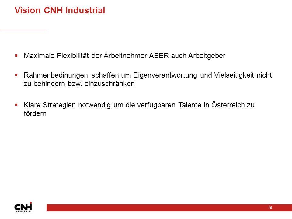 Vision CNH Industrial Maximale Flexibilität der Arbeitnehmer ABER auch Arbeitgeber.