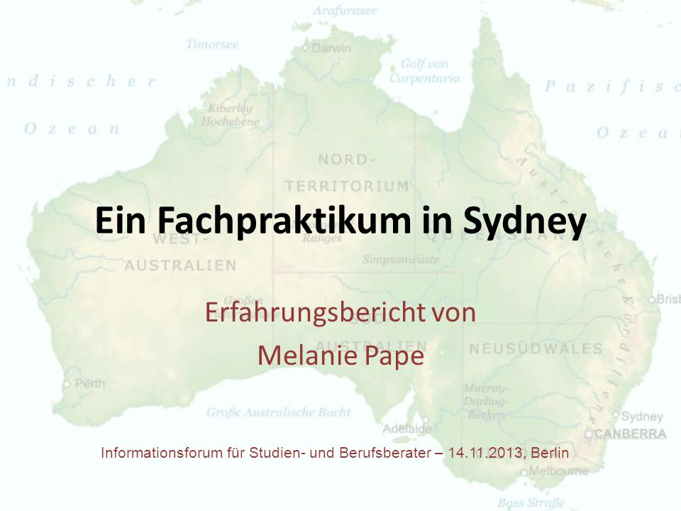 Ein Fachpraktikum in Sydney