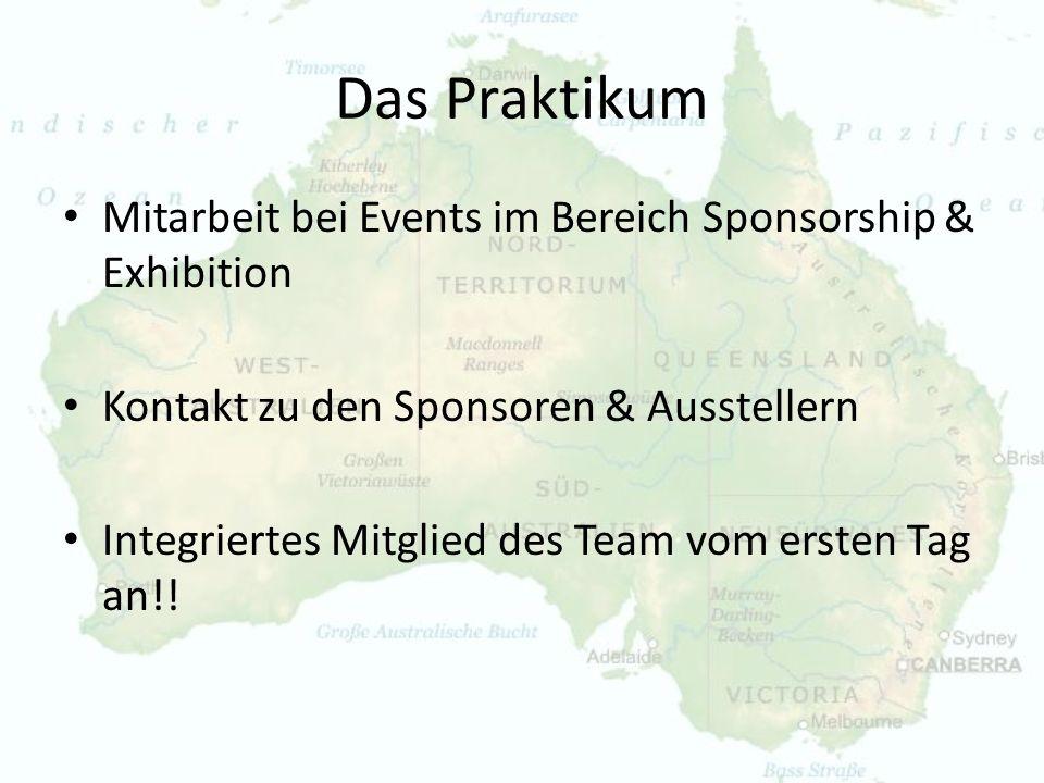 Das Praktikum Mitarbeit bei Events im Bereich Sponsorship & Exhibition