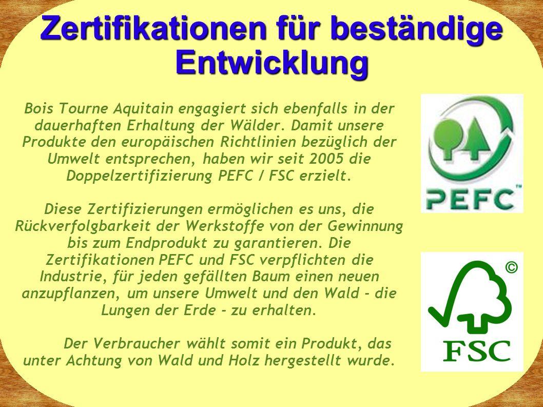 Zertifikationen für beständige Entwicklung