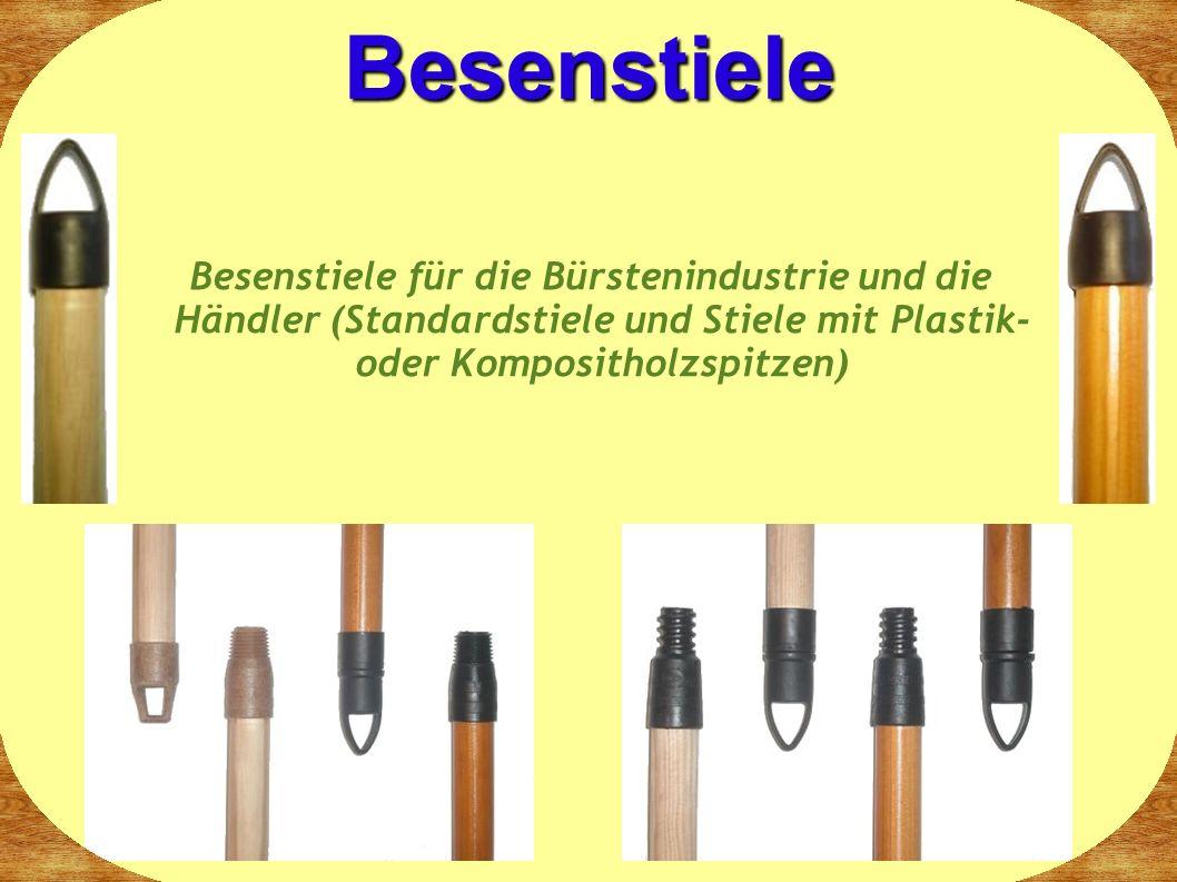 Besenstiele Besenstiele für die Bürstenindustrie und die Händler (Standardstiele und Stiele mit Plastik- oder Kompositholzspitzen)