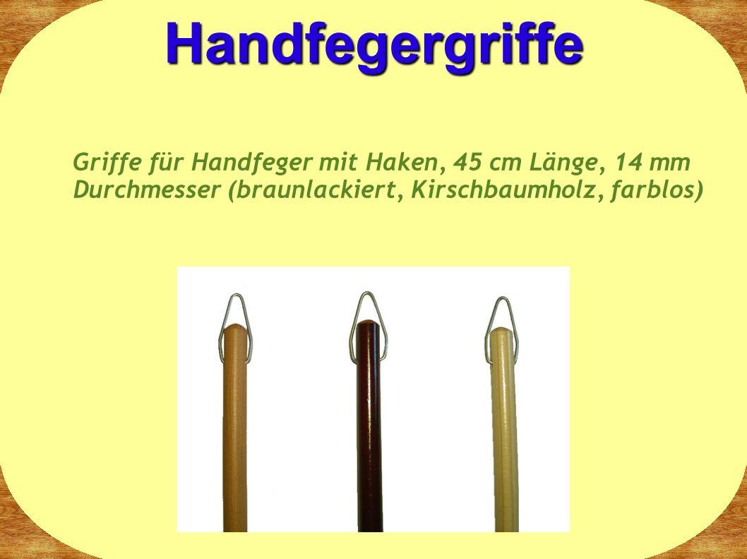 Handfegergriffe Griffe für Handfeger mit Haken, 45 cm Länge, 14 mm Durchmesser (braunlackiert, Kirschbaumholz, farblos)
