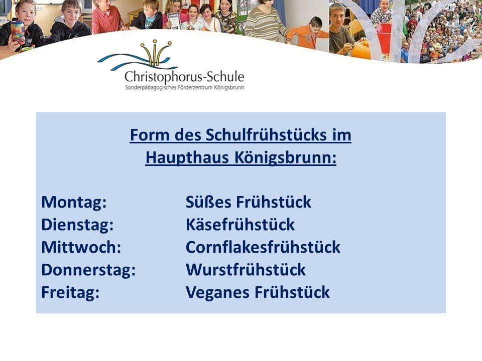 Form des Schulfrühstücks im Haupthaus Königsbrunn: