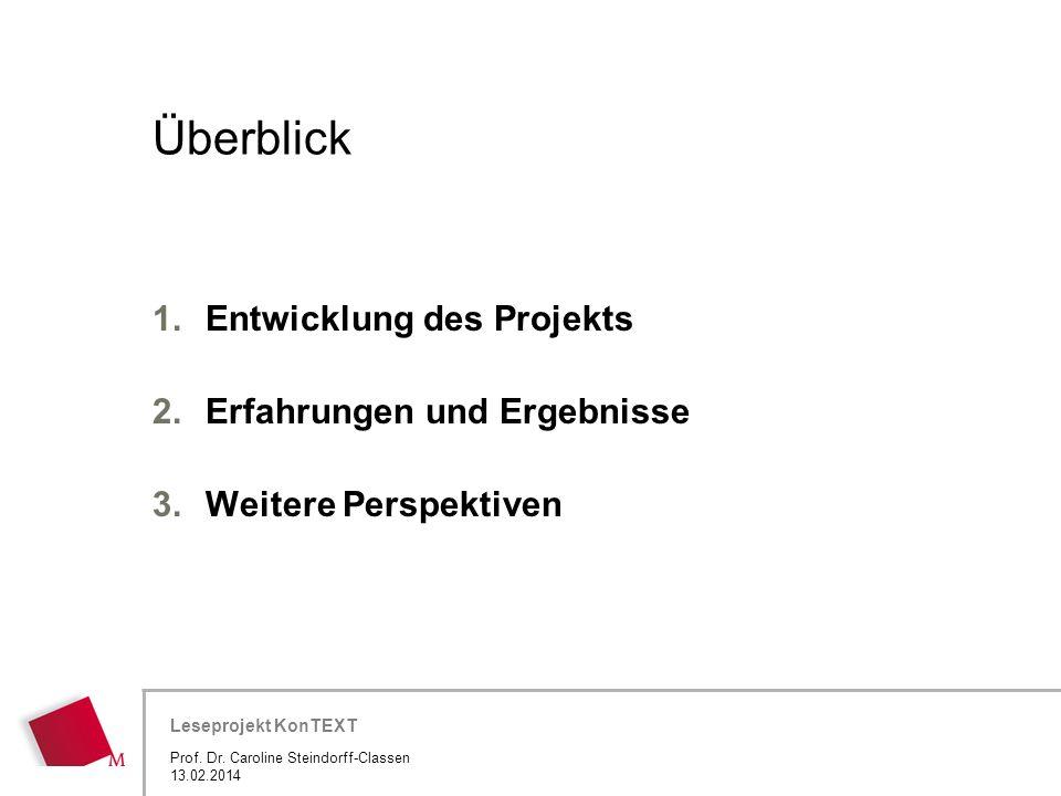Überblick Entwicklung des Projekts Erfahrungen und Ergebnisse
