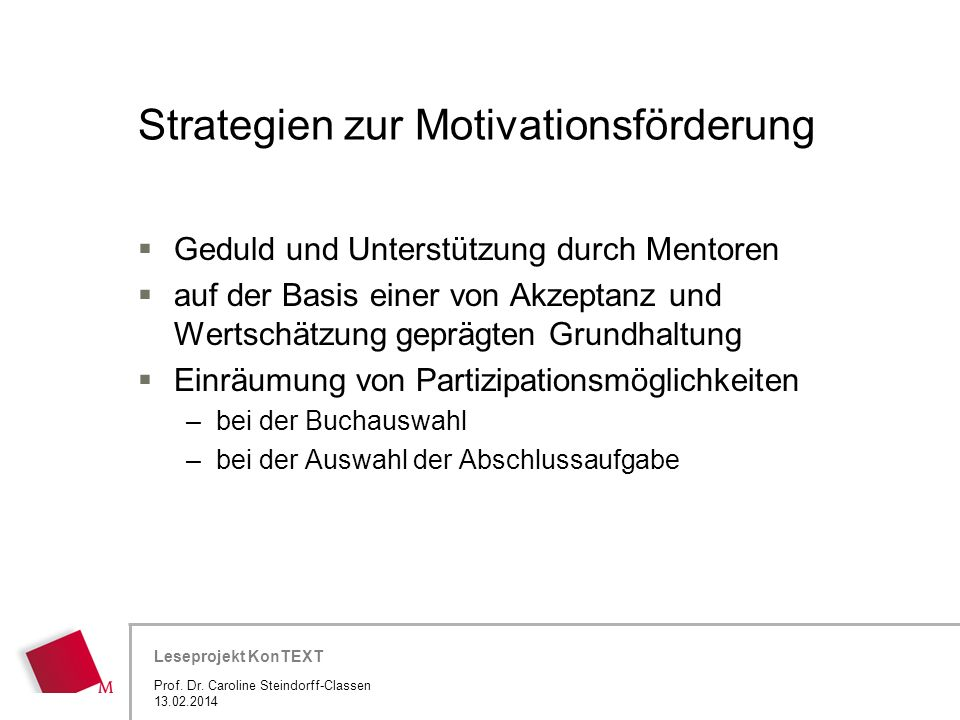 Strategien zur Motivationsförderung