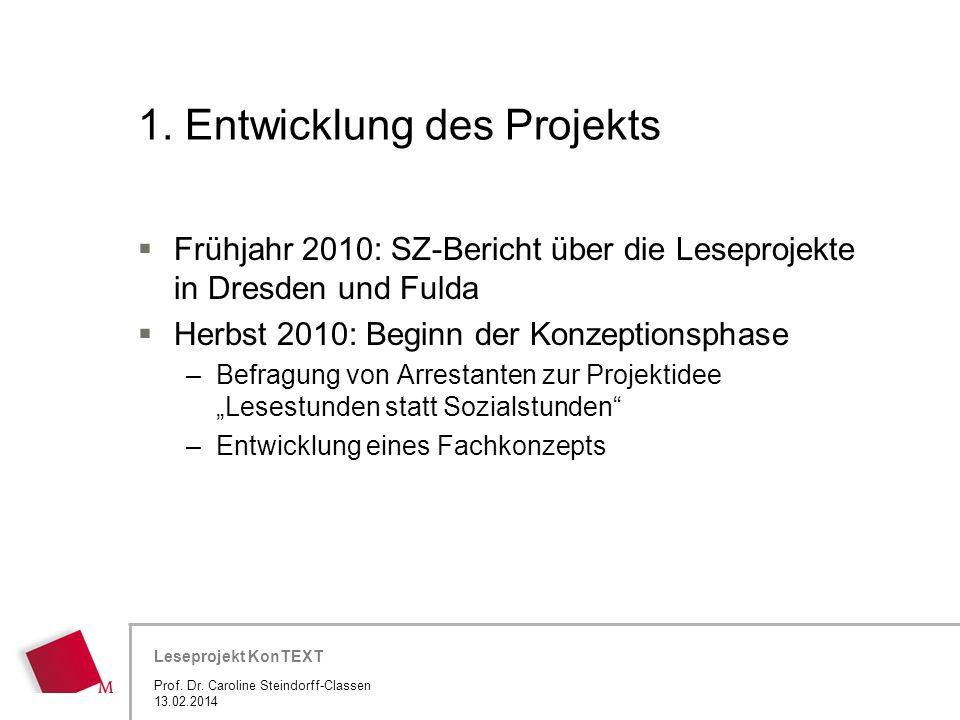 1. Entwicklung des Projekts