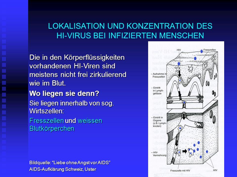 LOKALISATION UND KONZENTRATION DES HI-VIRUS BEI INFIZIERTEN MENSCHEN