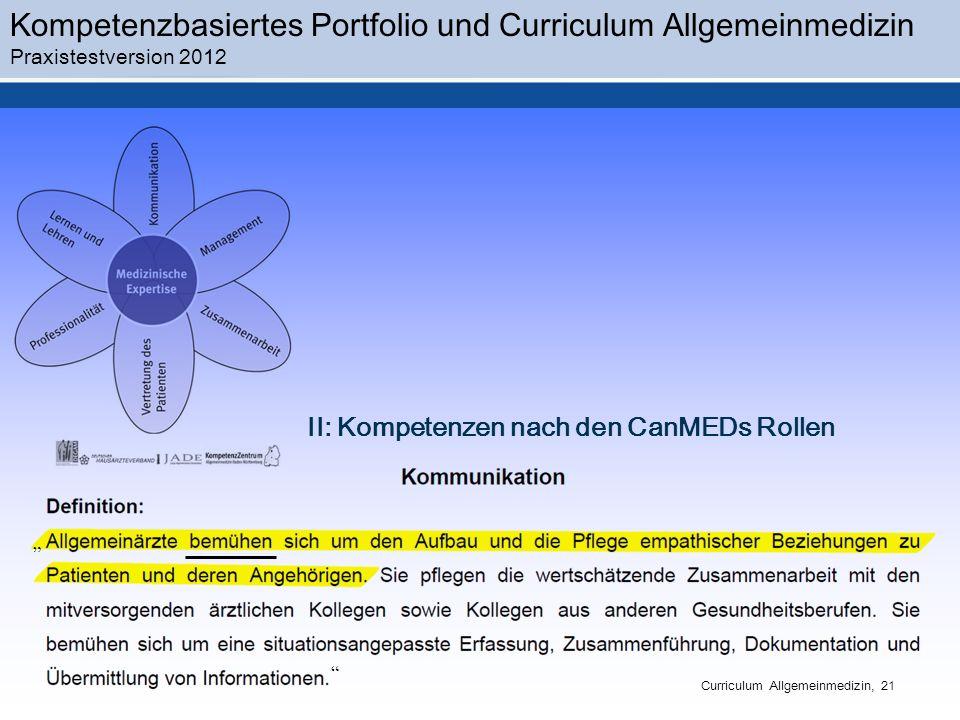 II: Kompetenzen nach den CanMEDs Rollen