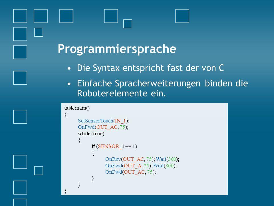 Programmiersprache Die Syntax entspricht fast der von C