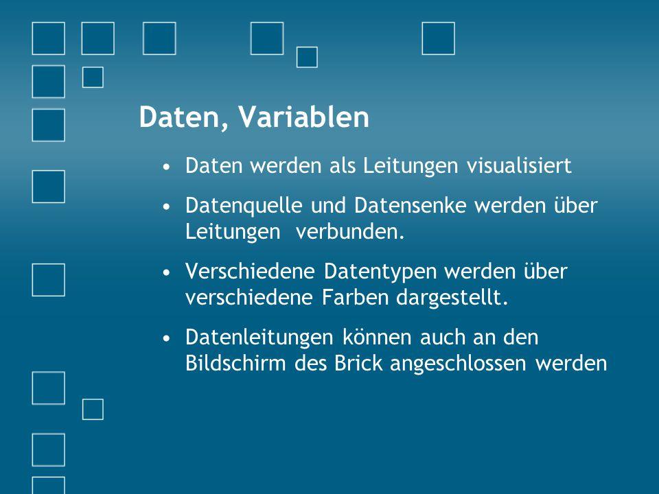 Daten, Variablen Daten werden als Leitungen visualisiert