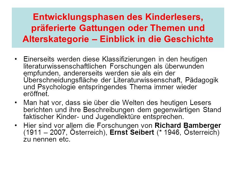 Entwicklungsphasen des Kinderlesers, präferierte Gattungen oder Themen und Alterskategorie – Einblick in die Geschichte