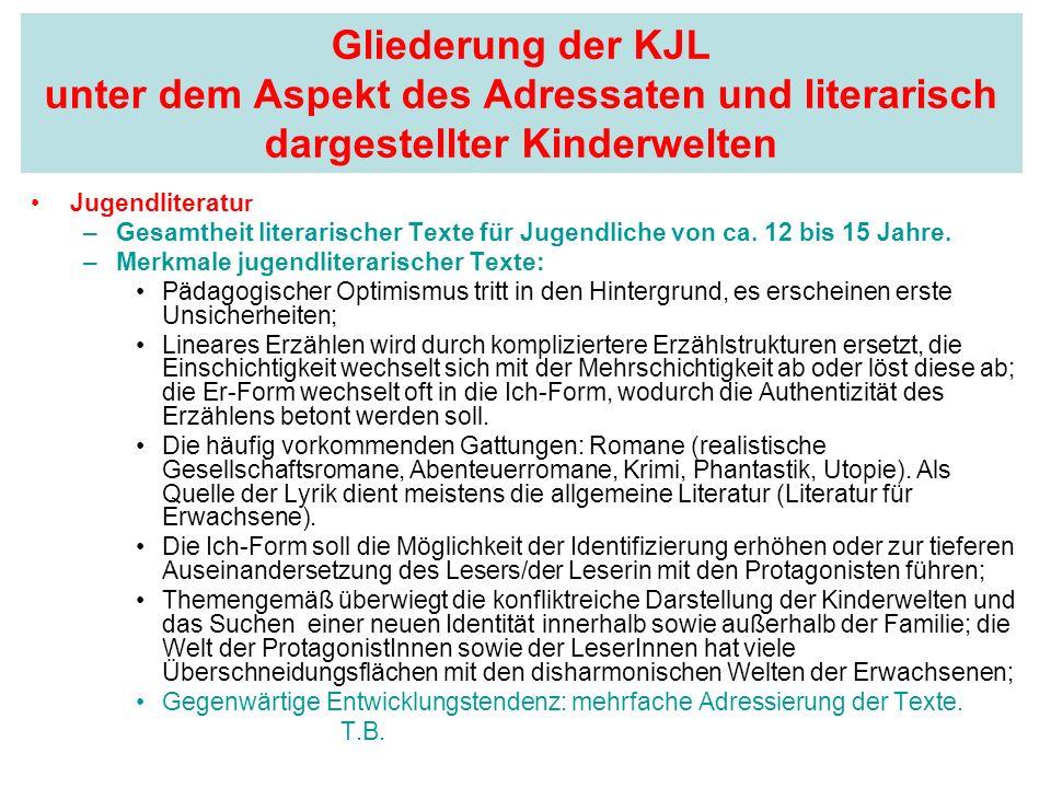Gliederung der KJL unter dem Aspekt des Adressaten und literarisch dargestellter Kinderwelten