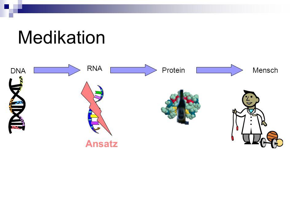 Medikation RNA DNA Protein Mensch Ansatz