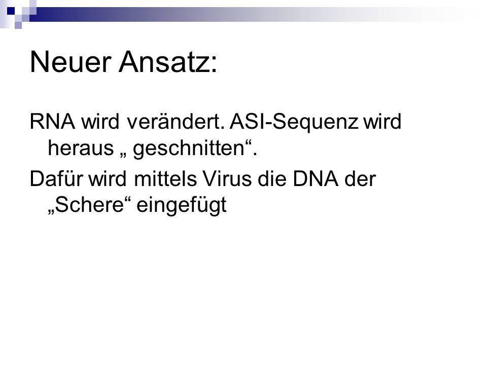 """Neuer Ansatz: RNA wird verändert. ASI-Sequenz wird heraus """" geschnitten ."""