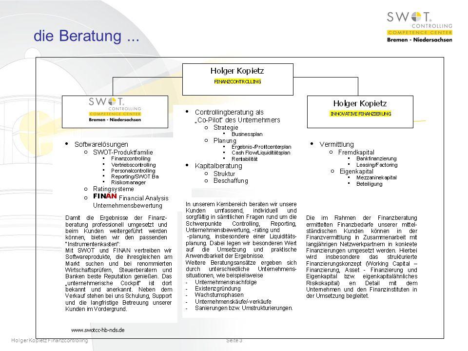 die Beratung ... Holger Kopietz Finanzcontrolling
