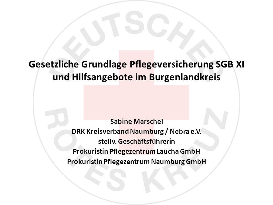 Gesetzliche Grundlage Pflegeversicherung SGB XI und Hilfsangebote im Burgenlandkreis