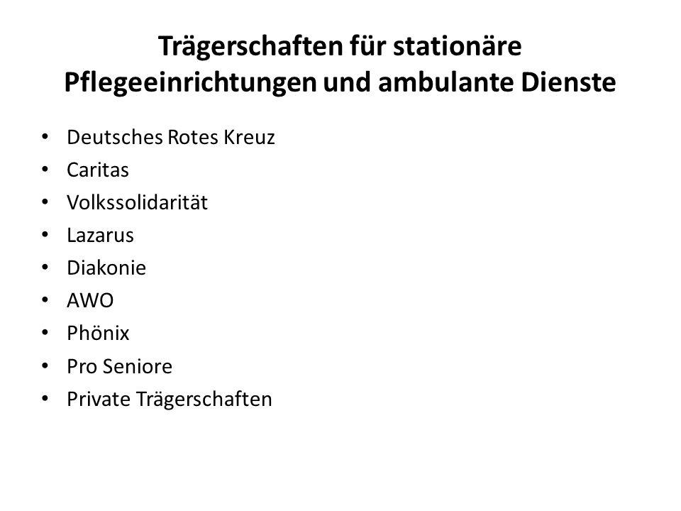 Trägerschaften für stationäre Pflegeeinrichtungen und ambulante Dienste