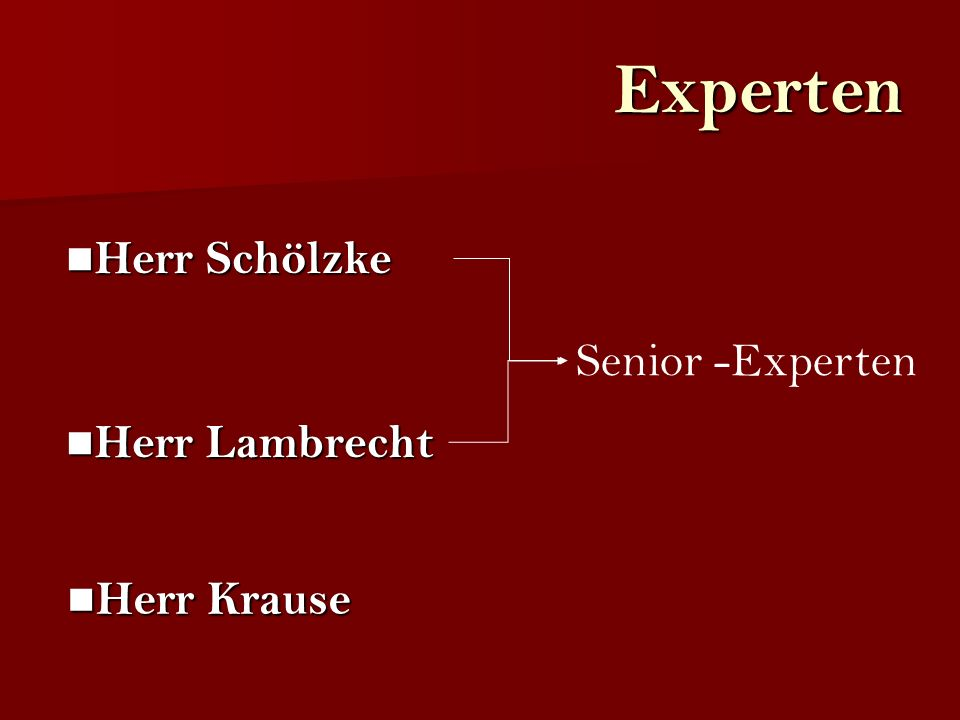 Experten Herr Schölzke Senior -Experten Herr Lambrecht Herr Krause