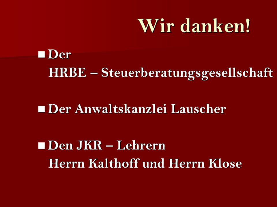 Wir danken! Der HRBE – Steuerberatungsgesellschaft