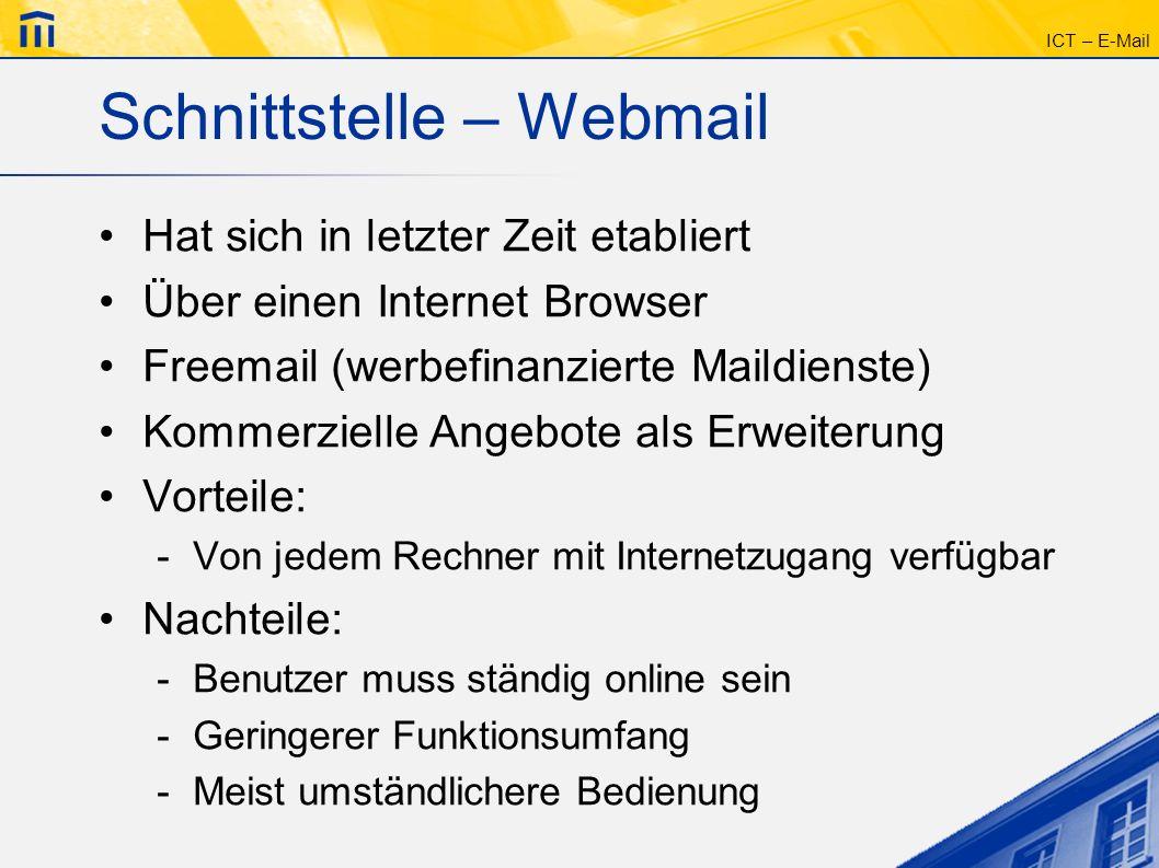 Schnittstelle – Webmail