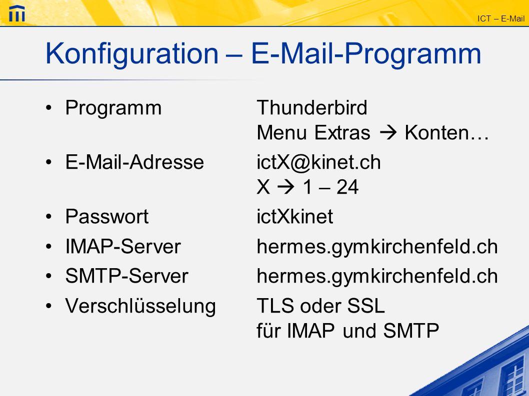 Konfiguration – E-Mail-Programm