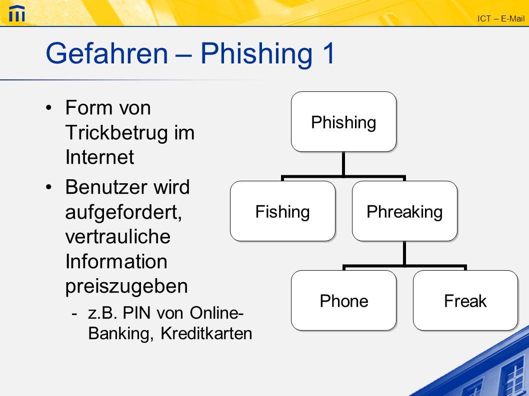 Gefahren – Phishing 1 Form von Trickbetrug im Internet