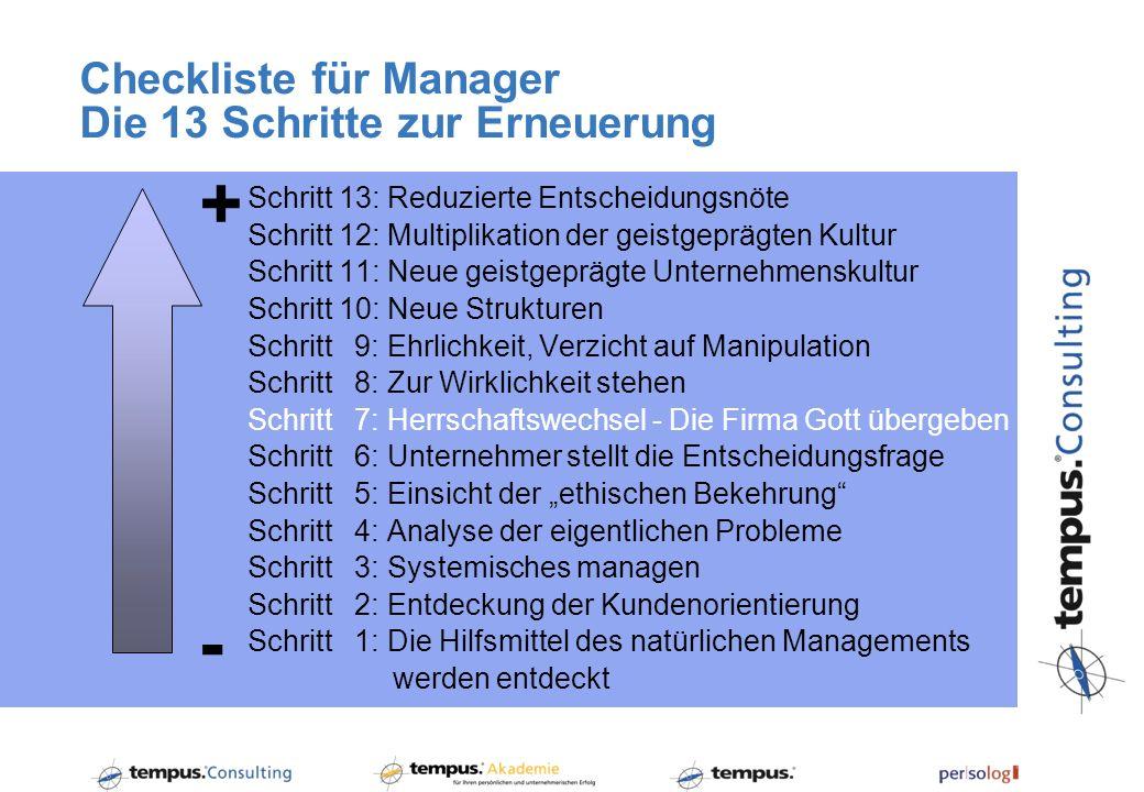 Checkliste für Manager Die 13 Schritte zur Erneuerung