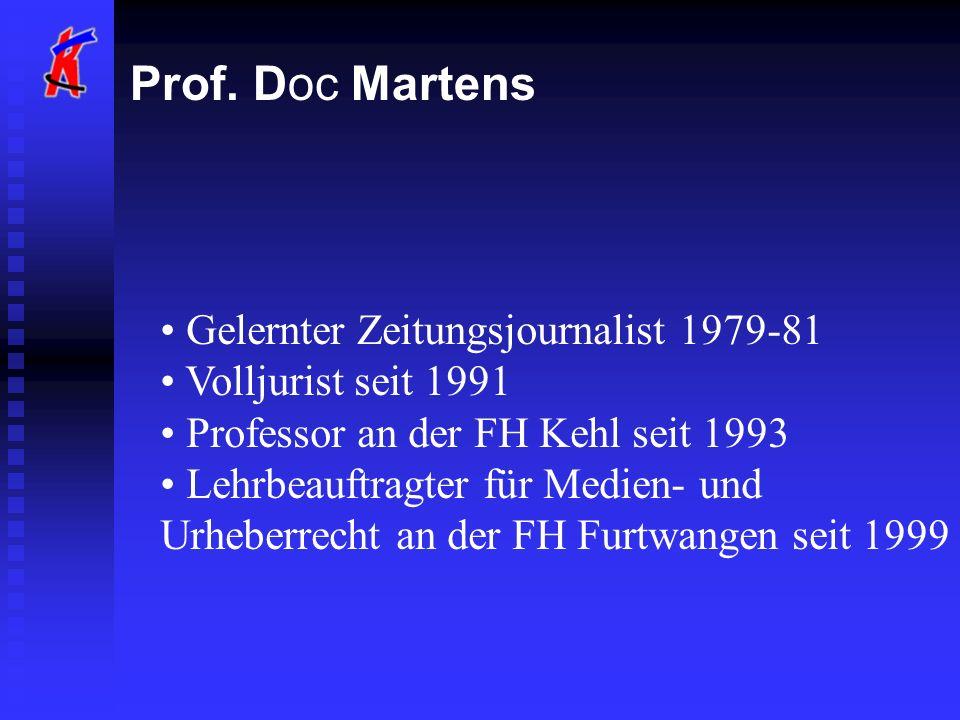 Prof. Doc Martens Gelernter Zeitungsjournalist 1979-81