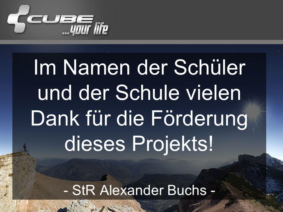 Im Namen der Schüler und der Schule vielen Dank für die Förderung dieses Projekts.