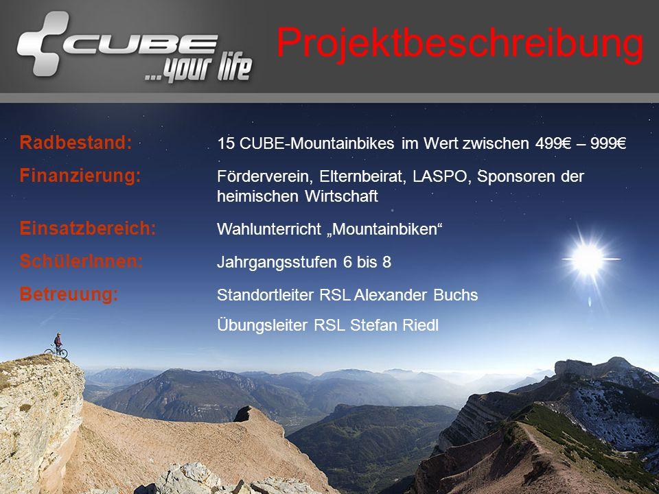 Projektbeschreibung Radbestand: 15 CUBE-Mountainbikes im Wert zwischen 499€ – 999€