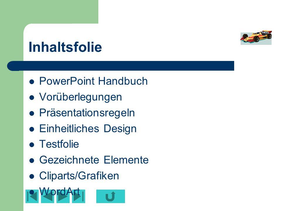 Inhaltsfolie PowerPoint Handbuch Vorüberlegungen Präsentationsregeln