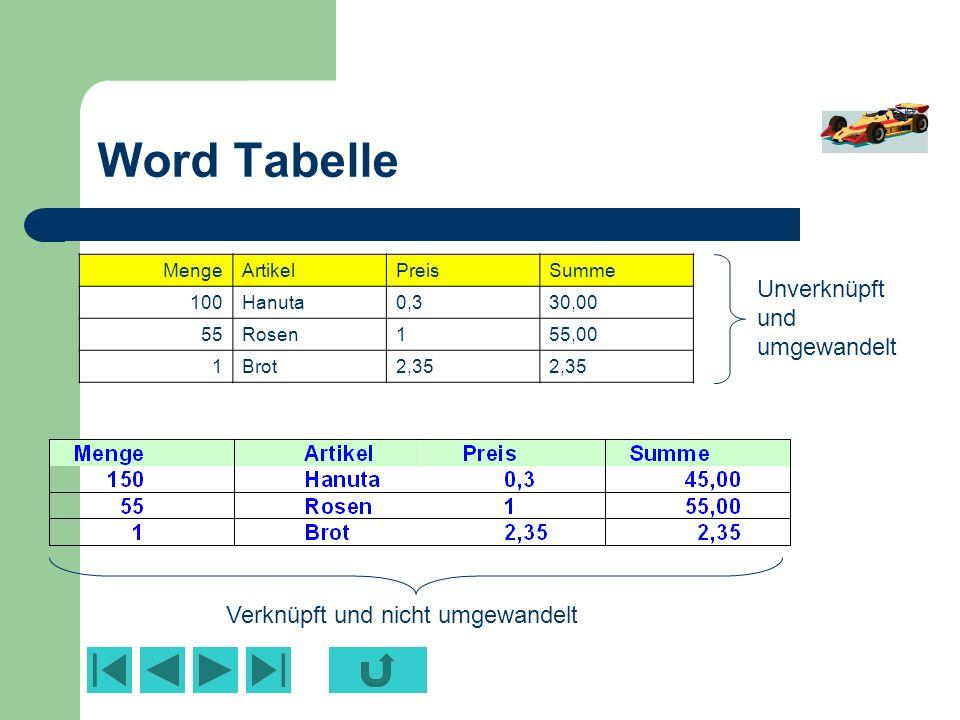 Word Tabelle Unverknüpft und umgewandelt