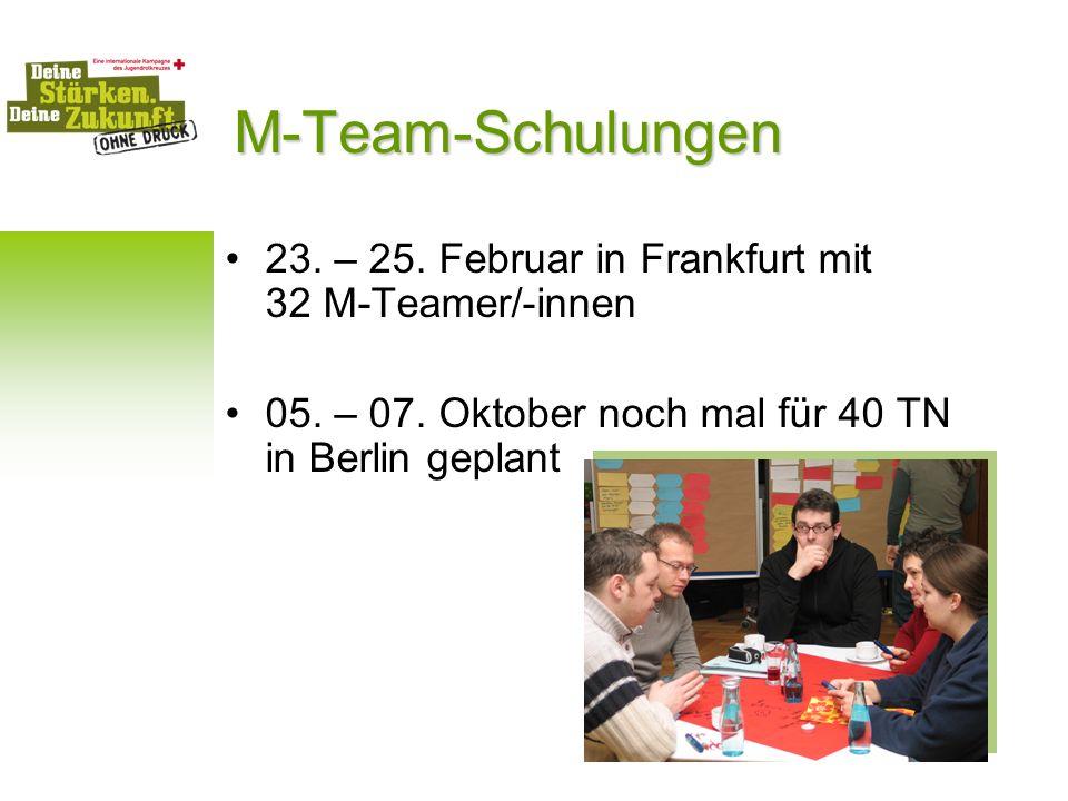 M-Team-Schulungen 23. – 25. Februar in Frankfurt mit 32 M-Teamer/-innen. 05. – 07. Oktober noch mal für 40 TN in Berlin geplant.