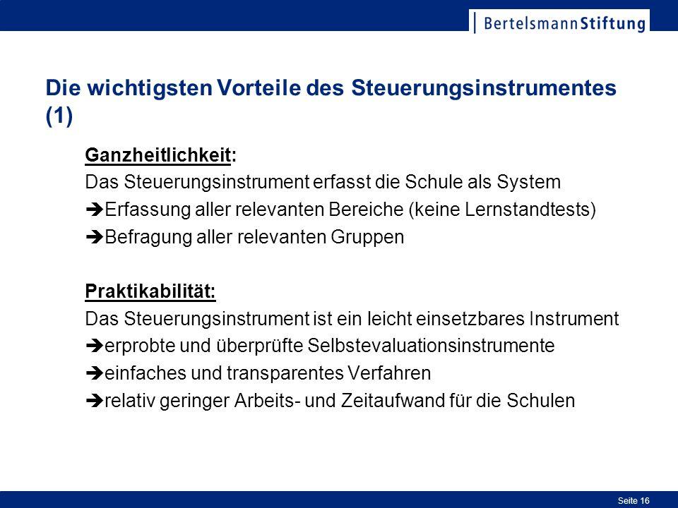 Die wichtigsten Vorteile des Steuerungsinstrumentes (1)