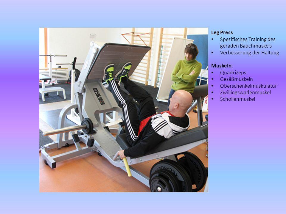 Leg Press Spezifisches Training des geraden Bauchmuskels. Verbesserung der Haltung. Muskeln: Quadrizeps.