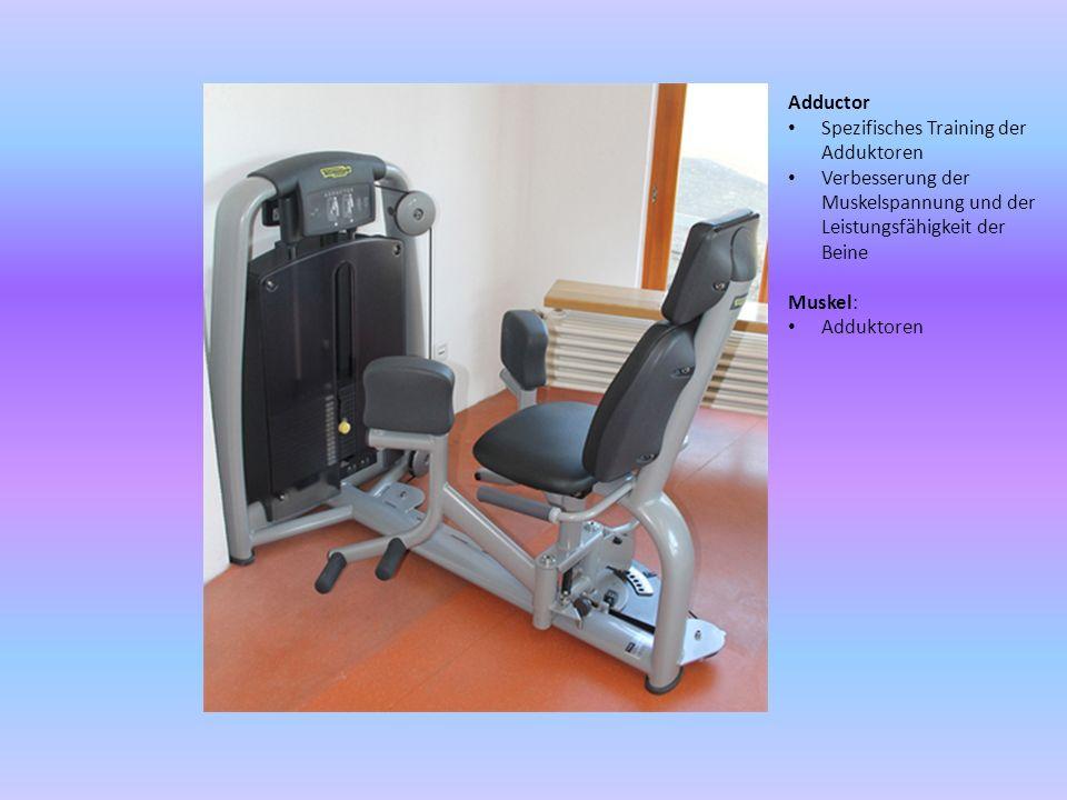 Adductor Spezifisches Training der Adduktoren. Verbesserung der Muskelspannung und der Leistungsfähigkeit der Beine.