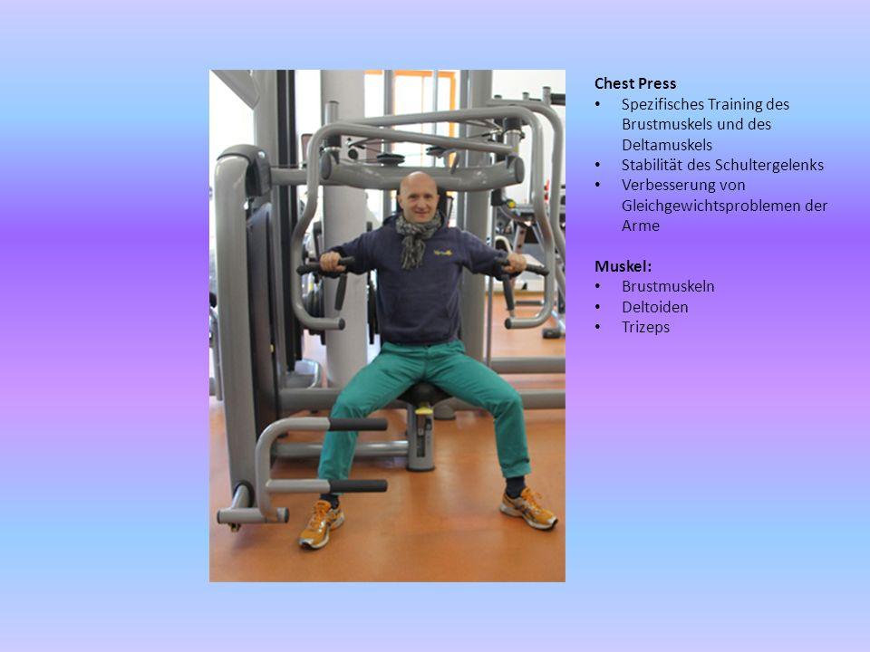 Chest Press Spezifisches Training des Brustmuskels und des Deltamuskels. Stabilität des Schultergelenks.