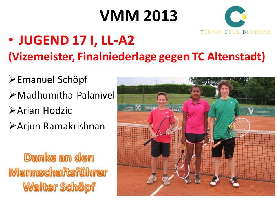 VMM 2013 JUGEND 17 I, LL-A2. (Vizemeister, Finalniederlage gegen TC Altenstadt) Emanuel Schöpf. Madhumitha Palanivel.