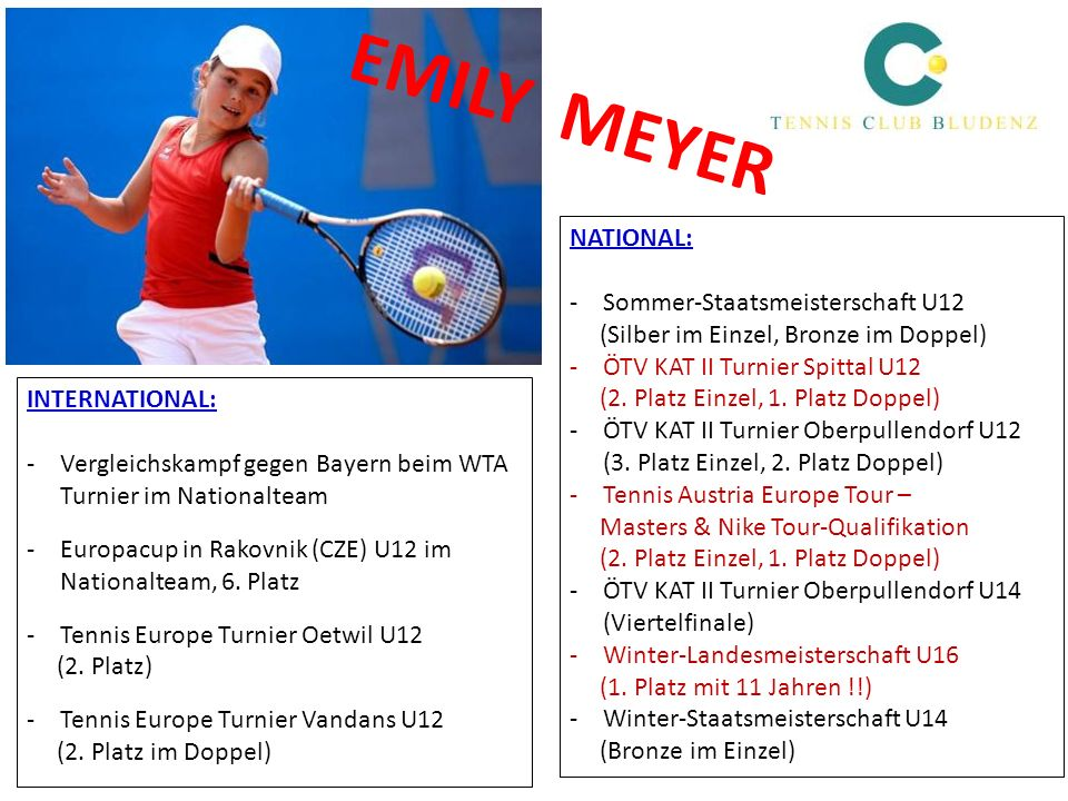EMILY MEYER NATIONAL: Sommer-Staatsmeisterschaft U12